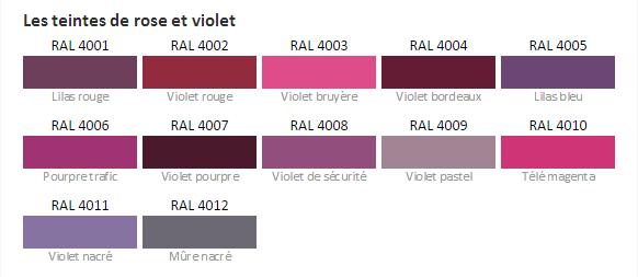 Teinte rougeet violet ral